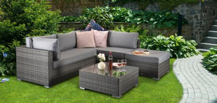 Savannah Corner Sofa Grey Rattan